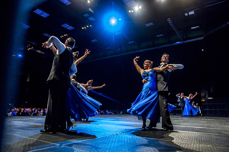 UVU Ballroom Dancers perform on stage at the Scholarship Ball.