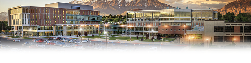 panoramic shot of UVU campus during the summertime